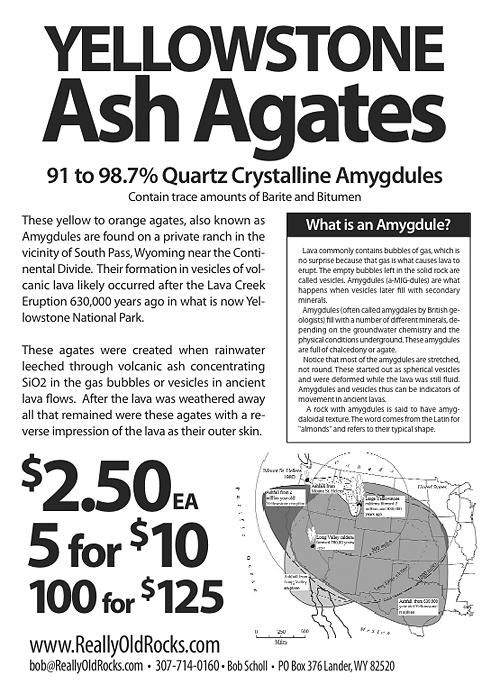 Yellowstone Ash Agates Info Sheet