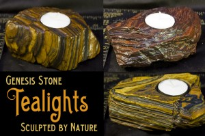 Natural stone tealight holder or base, wind sculpted Genesis Stone 2 billion years old. Rock Tealight holder