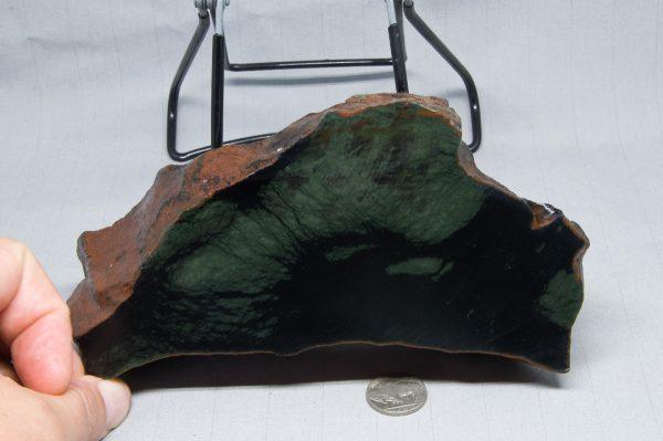 Rare Edwards Black Nephrite Jade with Frogskin green patterns