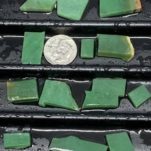 Lot 1 - Wyoming apple green nephrite jade jewelry grade off cut slabs