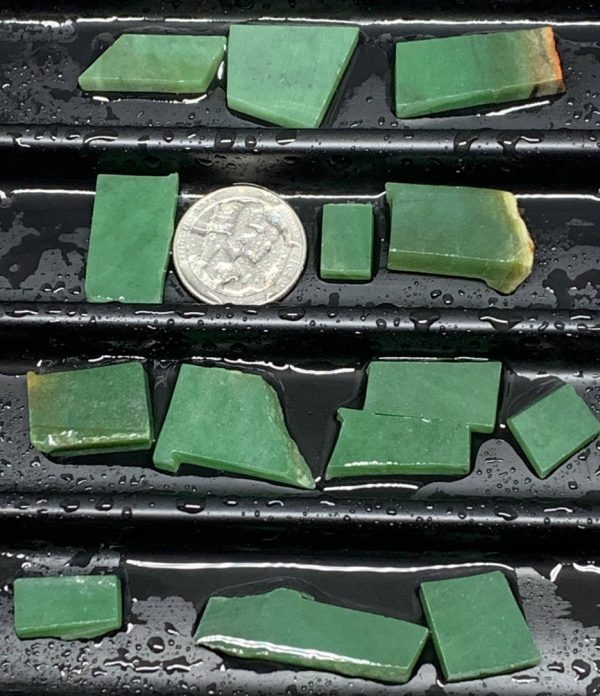 Lot 1 - Wyoming apple green nephrite jade jewelry grade off cut slabs