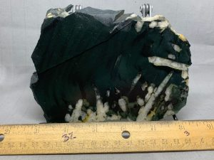 Wyoming Edwards Black Nephrite jade with crystals collector slab 1