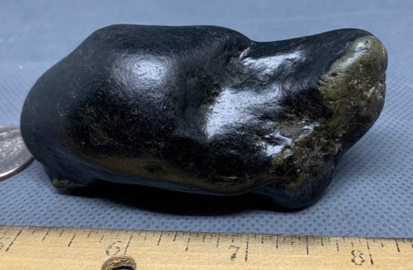 Wyoming black frogskin nephrite jade river cobble from the N. Platte River.
