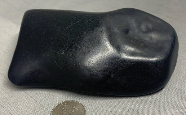 """Wyoming black nephrite jade river cobble from the N. Platte River - """"The Axehead"""""""