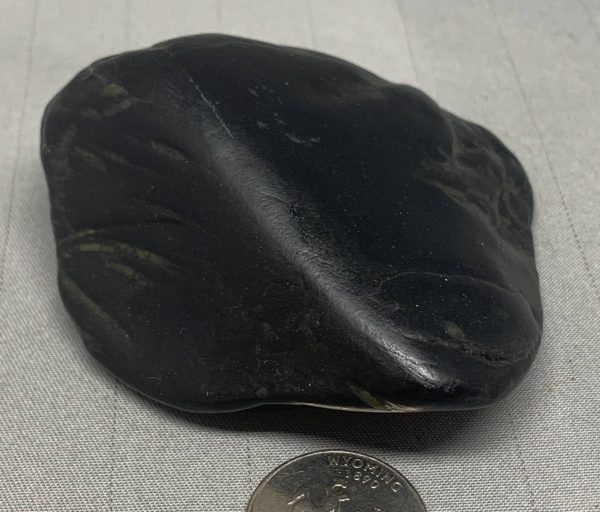 Wyoming black nephrite jade river cobble from the N. Platte River w/crystals
